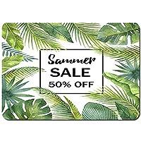 滑り止めラグバスマット、水彩画の販売バナー熱帯の葉と枝、快適な豪華なマイクロファイバー吸収性バスルームフロアラグウォッシャブル 60x40cm