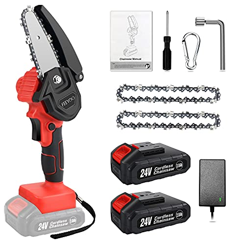 Mini Electric Chainsaw Cordless 4 Inch, Upgraded 24V Battery Powered Chain Saws with Safety Button, 2pc Batteries 2pc Chains, One-Handheld Portable Fast Saw for Trees Wood, Orchard Garden Pruning