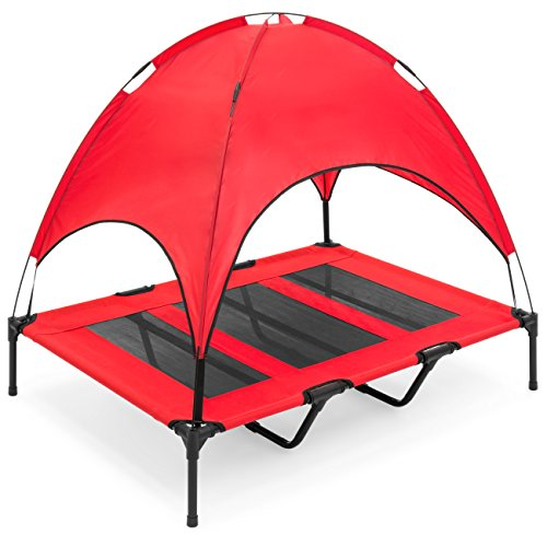 Best Choice Products Raised Mesh Cot Cooling Dog Bed, 48in, Red, w/Removable Canopy Shade Tent, Travel Bag, Breathable Fabric