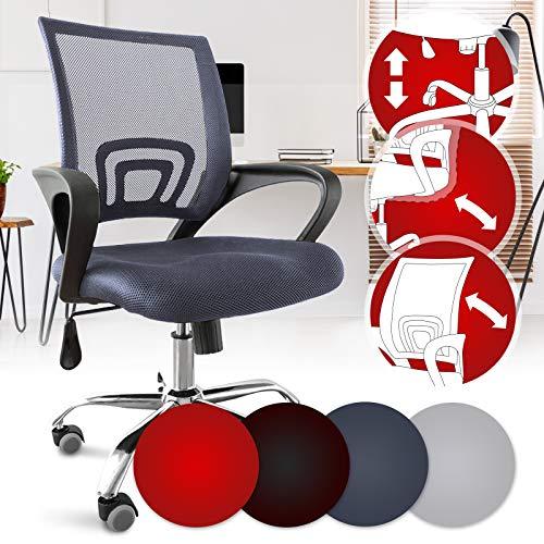 Bürostuhl - ergonomisch, mit Armlehnen und Rollen, Netzbezug und Wippfunktion, höhenverstellbar, bis 120kg, Farbwahl - Chefsessel, Drehstuhl, Schreibtischstuhl, Computerstuhl für Home Office