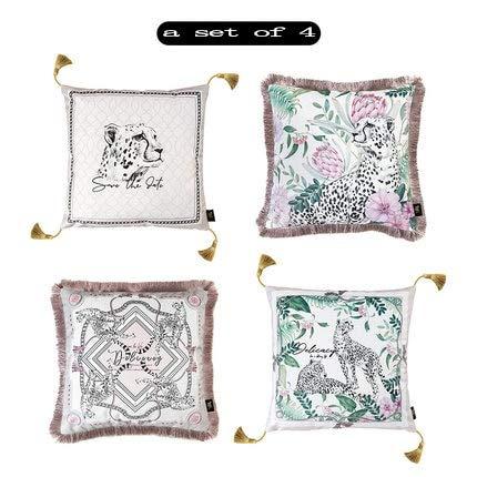 Fashion Pink Design Velvet Tassel Cushion Cover Animal Printed Pillow Cover Pillowcase Home Decorative Sofa Throw Pillows - E4,50x50cm