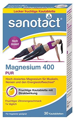 sanotact Magnesium 400 Kautabletten - 30 Stk, hochdosiertes Magnesium 400mg für Muskeln und Nerven, erfrischender Zitronengeschmack, vegetarisch