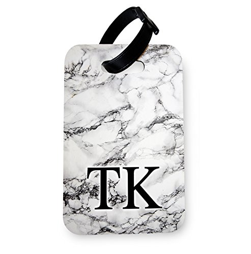WTF | White Marble Monogram (Personalised) | Printed Art Faux Leather Passport Cover/Luggage Tag (Luggage Tag)