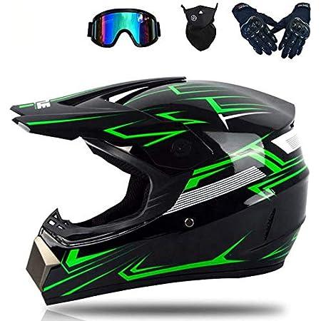 Motocross Motorradhelm Downhill Fullface Helm Adult Off Road Helm Mit Handschuhe Maske Brille Motorrad Sport Damen Herren Downhill Helm Quad Bike Motocross Helm A M Auto