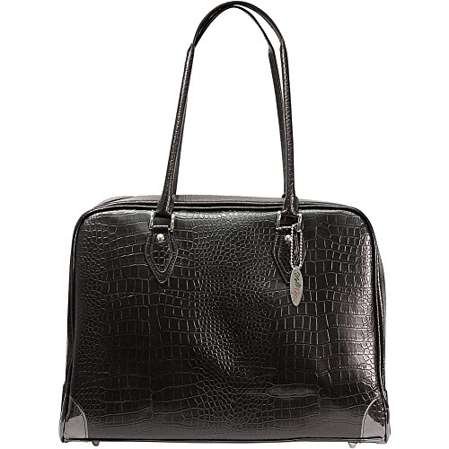 Mobile Edge Women's Milano 17 Inch Business Laptop Handbag Faux Croc, Soft Poly-Suede Lining Protection, Black MEMC1L