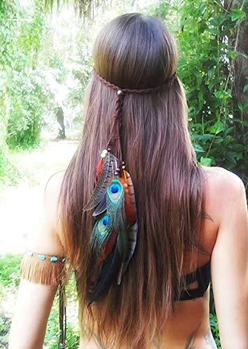 Simsly Boho Peacork Veer Hoofdband Hippie Indian Hoofdstuk 1920 Veer Hoofd Ketting Haarstuk Sieraden Accessoires Headdress Masquerade voor Vrouwen en Meisjes (Grijs)