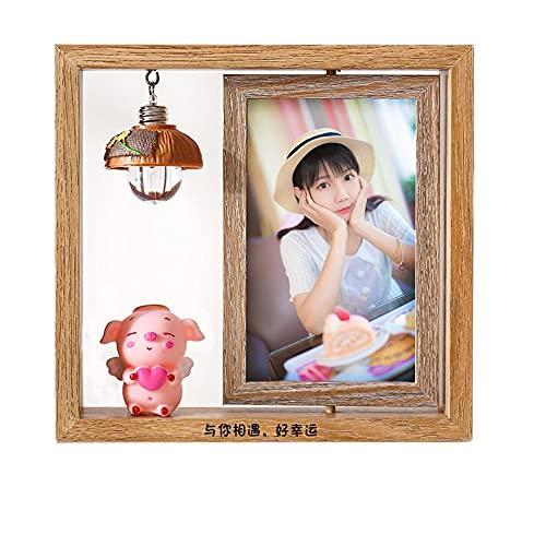 Marco de fotos de 6 pulgadas de mesa oscilante Marco de fotos de madera giratorio de doble cara