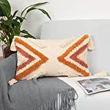 cygnus Boho Lumbar Pillow Cover 12x20,Woven Tufted Decorative Pillow Covers,Rust and Off White Geometric Cushion Cover for Couch Bedroom Living Room Car