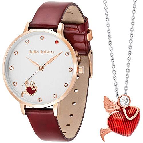 Julie Julsen Geschenkset Armbanduhr und Silberkette mit Anhänger - Angel of Heart - JJW1540RGL-SET