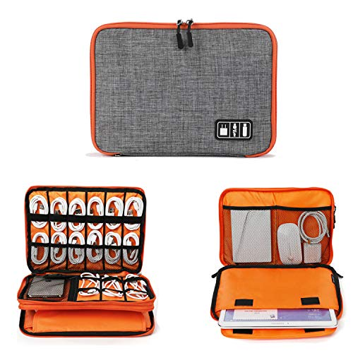 Electronics Organizer, Jelly Comb Electronic Accessories Cable Organizer Bag Waterproof Travel Cable Storage Bag for Charging Cable, Cellphone, iPad (Up to 11'' and More-Large(Orange and Gray)