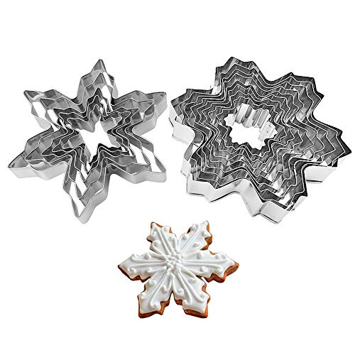 Snowflake Cookie Cutters Metal Cake Cutters for Fondant Decorating Fruit Cutter Sandwich Cutter Kids Biscuit Cutter and Bread Cutter 2 Set 14 PCS