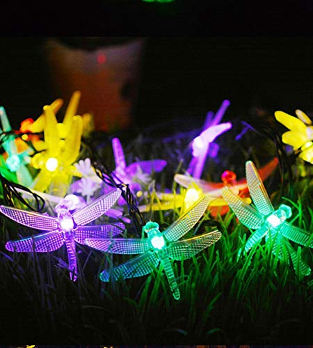 Dragonfly Light Meteor Rain Curtain Light Battery Box Color LED Fairy Light Waterproof Decorative String Light Garden Sidewalk Driveway Shed Supplies Stairs And Outdoor(Color:color,Size:3m20 lights)