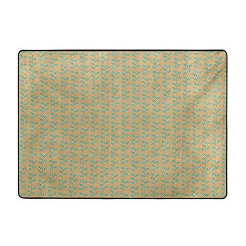 Nature Area - Alfombra vertical con diseño de hojas de resorte de rayas, fondo marrón, 4 x 5 pies de lujo alfombras para el hogar, guardería, cama y sala de estar