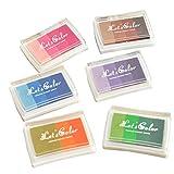 rosenice Stempelkissen mit 6 Farben, Ungiftig Fingerabdruck Stempel Pads für Scrapbooking DIY Handwerk
