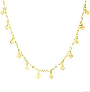 Collar Gargantilla Tréboles para Mujer Plata de Ley 925 con Baño de Oro, Suerte, Fortuna