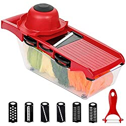 【6 in 1 MANDOLINE SLICER】: This Mandolin Slicer comes with 6 Interchangeable blades, 1 food container base, 1 peeler and a finger guard. With this vegetable cutter, you can meet all of your needs of cutting, slicing, chopping and save a lot of time 【...