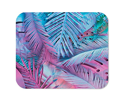 Yeuss Palm Leaf Mouse Pad Rectangular Non-Slip Mousepad, Tropical and Palm Leaves in Vibrant Bold Gradient Holographic Neon Colors Concept Art Gaming Mouse Pads, Pink Purple,200mm x 240mm