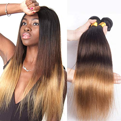 Tissage Ombre Hair Tissage Bresilien Blond Cheveux Naturel Vrai Lisse Meches Vierge en Lot 3 Couleur #1B/4/27 Qualité Remy Hair Weave pas Cher 16 18 20 pouces par Volvetwig