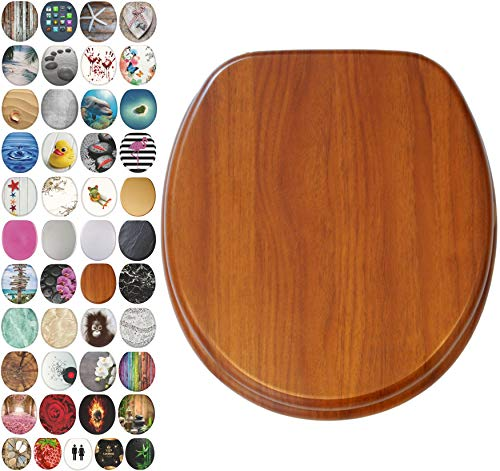 Product Image of the Sanilo Round Toilet Seat, Wide Choice of Slow Close Toilet Seats, Molded Wood, Strong Hinges (Mahogany)