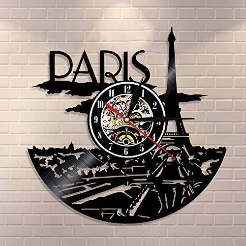 BFMBCHDJ Pariser Uhr Schallplatte Paris Skyline Wanddekoration Paris Eiffelturm Schlafzimmer Dekor Pariser Wanduhr Frankreich Reisegeschenk für Sie