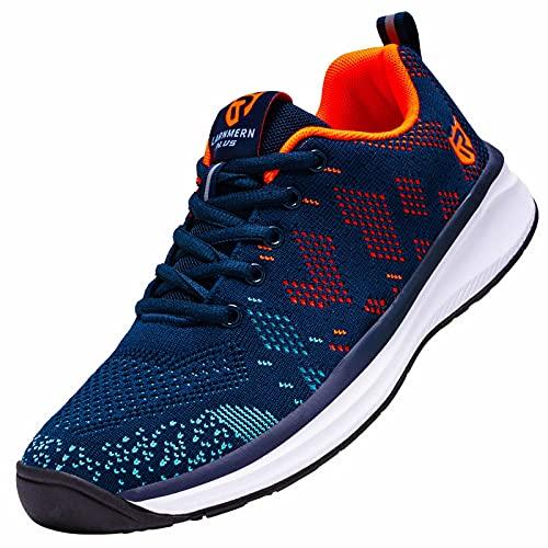 LARNMERN Zapatillas de Running para Hombre Antideslizante Zapatos para Correr y Asfalto Aire Libre y Deportes Calzado Ligero Transpirable(Azul 41)