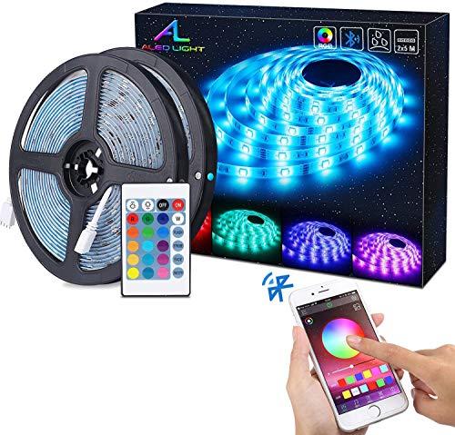 Tiras de luz LED Bluetooth, ALED LIGHT 5050 RGB 2x5 metros Tiras de luz LED 300 LED Banda de luz a prueba de agua a control remoto