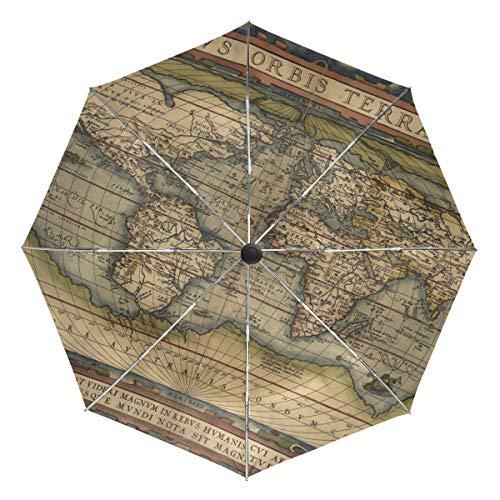 DEZIRO - Ombrello con Mappa del Mondo, Apertura Automatica, Antivento, Impermeabile