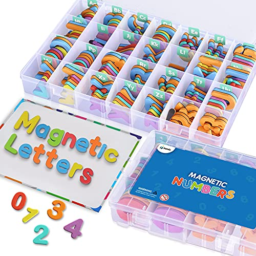 Magnetic Alphabet Letters and Numbers for Kids - 182 Foam Magnetic Letters & 81 Foam Magnetic Numbers - Toddler Magnet Letters & Numbers for Fridge or Whiteboard - Comes w/ Organizer Box, Board, Pens