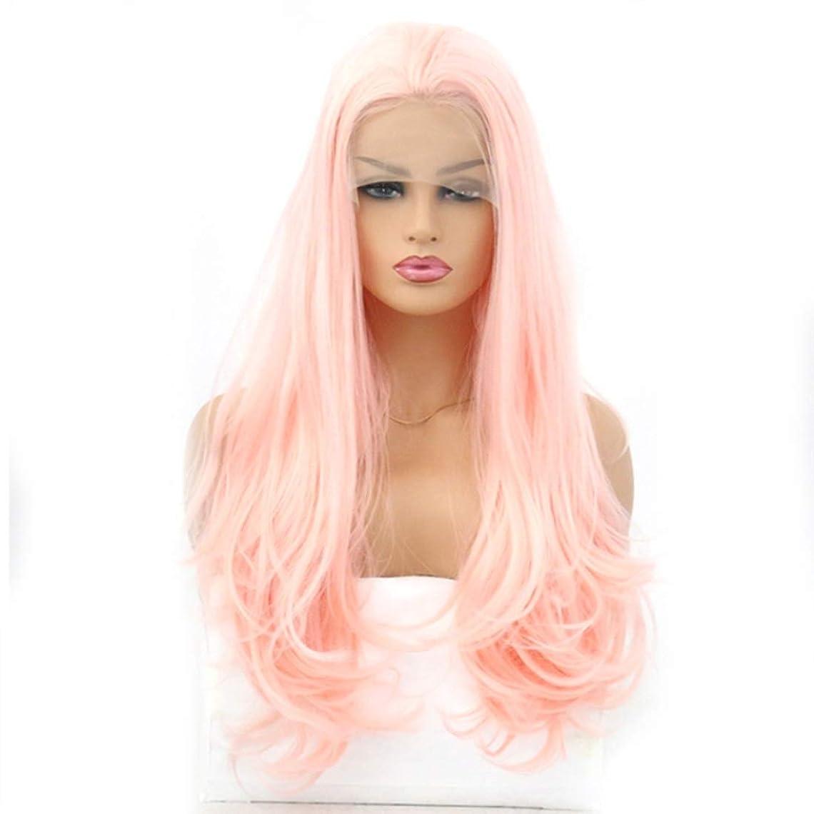 コンクリートパレードポスト印象派Summerys 女性のためのウィッグライトピンク化学繊維フロントレースロングカーリーヘア (Size : 16 inches)