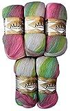 Alize, 5 gomitoli da 100 g, 500 g in totale, in diversi colori, filato in 20% lana