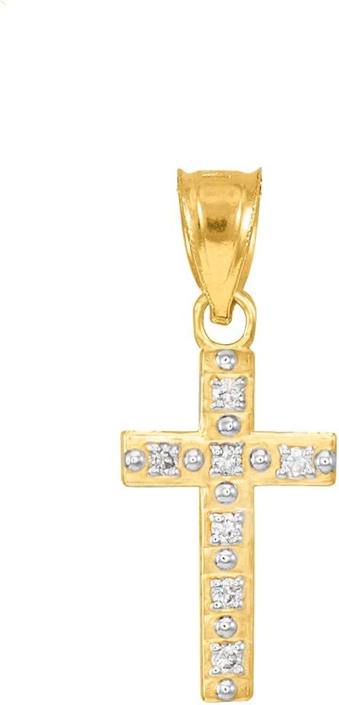 14k Yellow gold Diamond Christian Cross Bracelet Charm