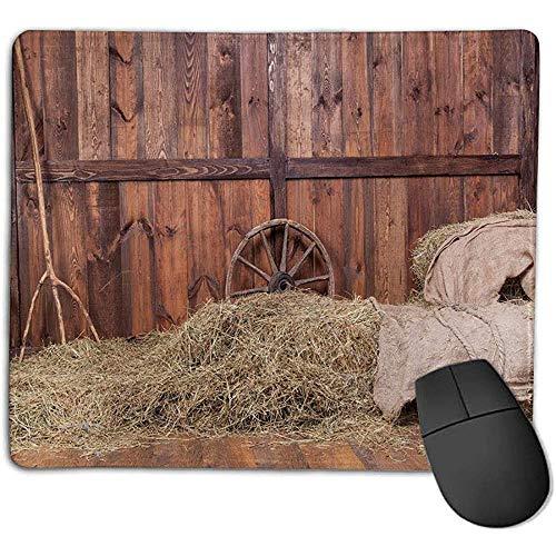 Muismat schuur hout wagwiel landelijk oud paard stal schuur binnenstebuiten hooi en houten planken afbeelding bruin stof c