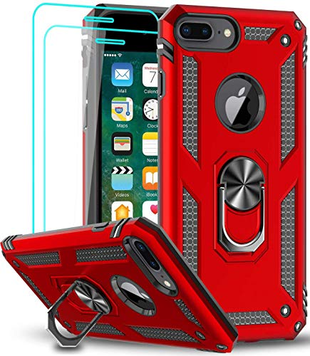 iPhone 8 Plus Case, iPhone 7 Plus Case, iPhone 6 Plus Case with Tempered Glass Screen Protector [2Pack], LeYi Military-Grade Phone Case with Rotating Holder Kickstand for iPhone 6s Plus, Red