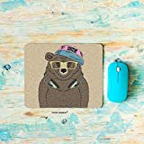 HGOD DESIGNS Bear Gaming Mouse Pad,Cartoon Cool Cute Portrait of Bear with Headphones Mousepad Rectangle Non-Slip Rubber Mouse Pads(7.9'X9.5')