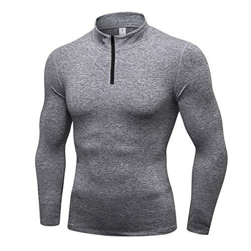 Blousons Manteaux Homme,FNKDOR Hommes Hiver Chaud épissage Sweatshirt Manteau Veste Cuir Outwear Pull Blouse Tops(Gris,M)