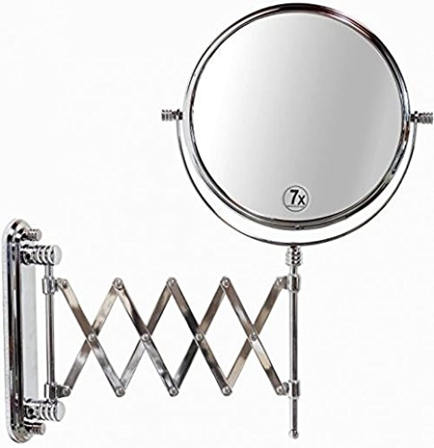 Makeup Mirror, 8 Inch Two Sided Extension Wall Mount Mirror 7X Magnification Chrome