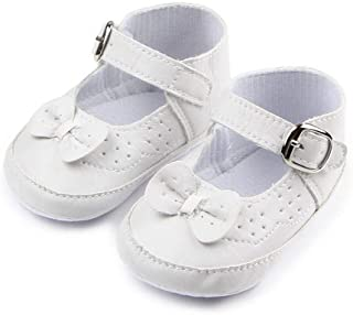 96bc29fb7c628 Nagodu Shoes Zapatos para Bebe niña Blancos con moñito y Ajuste de traba  Hermoso diseño imitación