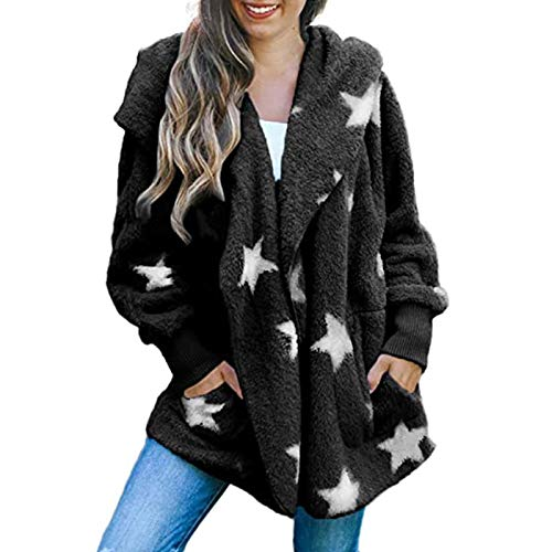 Sinifer Winter Cardigan for Women White Stars Casual Oversized Fuzzy Fleece Ribbed Long Sleeve Open Front Hooded Jacket Blanket Coat Outwear with Pockets(Black L)