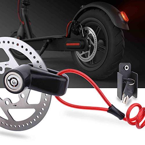 TOMALL Scheibenbremsenschloss Diebstahlsicherung Stahldraht Schloss für Xiaomi Mijia M365 Motorrad Fahrrad Räder Schließfach mit Erinnerungsseil