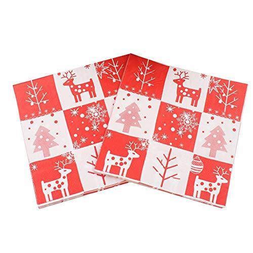 Weihnachten Servietten,60 Stück 13 Zoll Einweg-Papierservietten mit Weihnachten Muster Prints für Dinner-Partys,Cocktail,Mittagessen, Mittagsbuffet,Vorspeise,Dessert