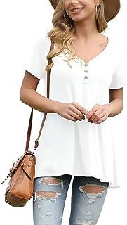 پیراهن آستین کوتاه آستین کوتاه زنانه AWULIFFAN پیراهن آستین کوتاه بلوز مناسب برای پیراهن