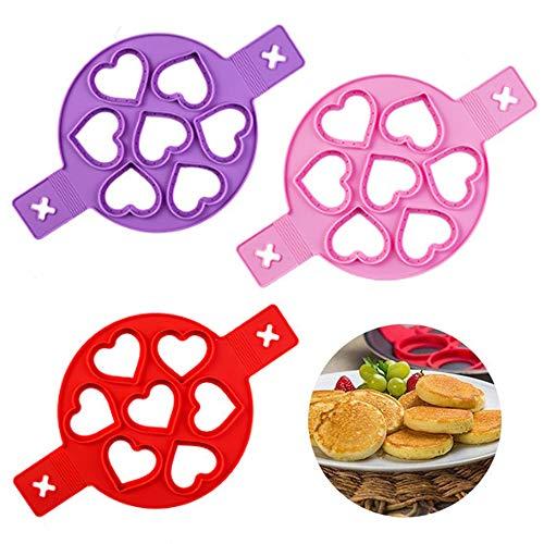 WENTS Pancake Molds Ring Molde de Huevo Frito, Molde para Tortitas, Silicona Reutilizable Antiadherente Pancake Maker Egg Ring Haga rápidamente un Pastel (3 Pack)