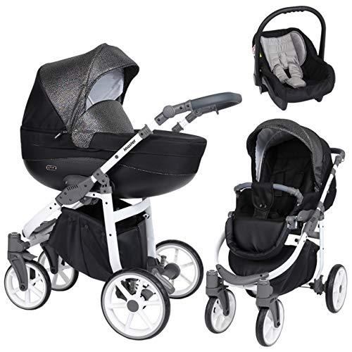KUNERT Kinderwagen MASTER Sportwagen Babywagen Autositz Babyschale Komplettset Kinder Wagen Set 3 in 1 (Schwarz mit Blitz, Rahmenfarbe: Weiß, 3in1)
