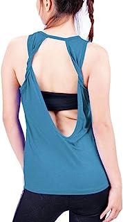 Lofbaz Women's Sexy Twist Open Back Yoga Shirts Workout Clothes Sports Tank Tops