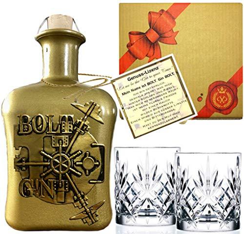 BOLT Gin Sonderedition GOLD Geschenk aus Deutschland Edelmanufaktur Luxus Dry Gin Tresor wilde Bergamotte und Kardamom Geschenkset mit 2 Gläsern TOP Qualität