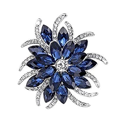 YouBella Jewellery Crystal Floral Shape Unisex Brooch for Women/Girls/Men/Boys (White)