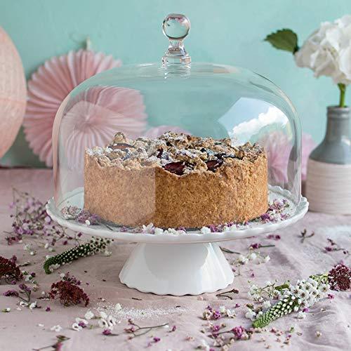 Home of Cake Présentoir à gâteau Sweet Flower Medium Blanc avec Cloche en Verre, Ø 28 cm