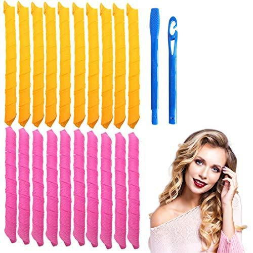 Juego de 30 rizadores de pelo mágicos en espiral y 2 ganchos de peinado, Magic Hair Curlers Spiral Curls Styling Kit, rizadores de pelo sin calor para cabello de menos de 45 cm
