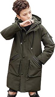 amropi Kids Boys Mid Long Hooded Jacket Parka Coat Winter Warm Outwear for 7-13 Years
