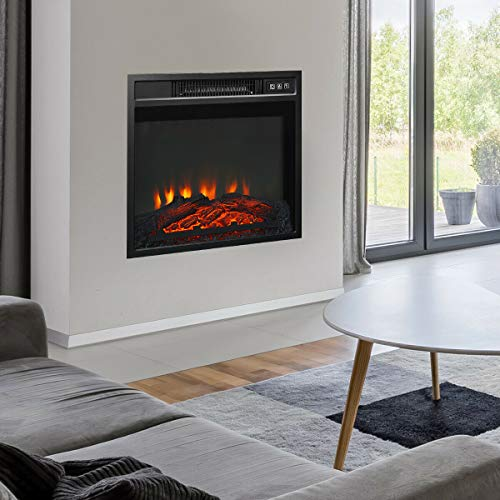 """KOVALENTHOR 18"""" Electric Fireplace Freestanding & Wall-Mounted Heater Log Flame, Multicolor LED Flame and Logs with Thermostat and Remote"""
